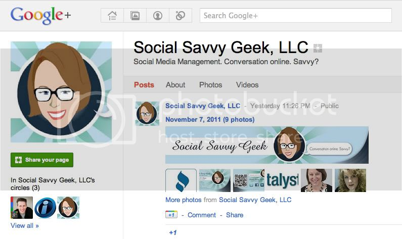 Social Savvy Geek Google + Page