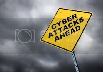 Cyber Attacks Ahead Sign in a Cloudy Sky